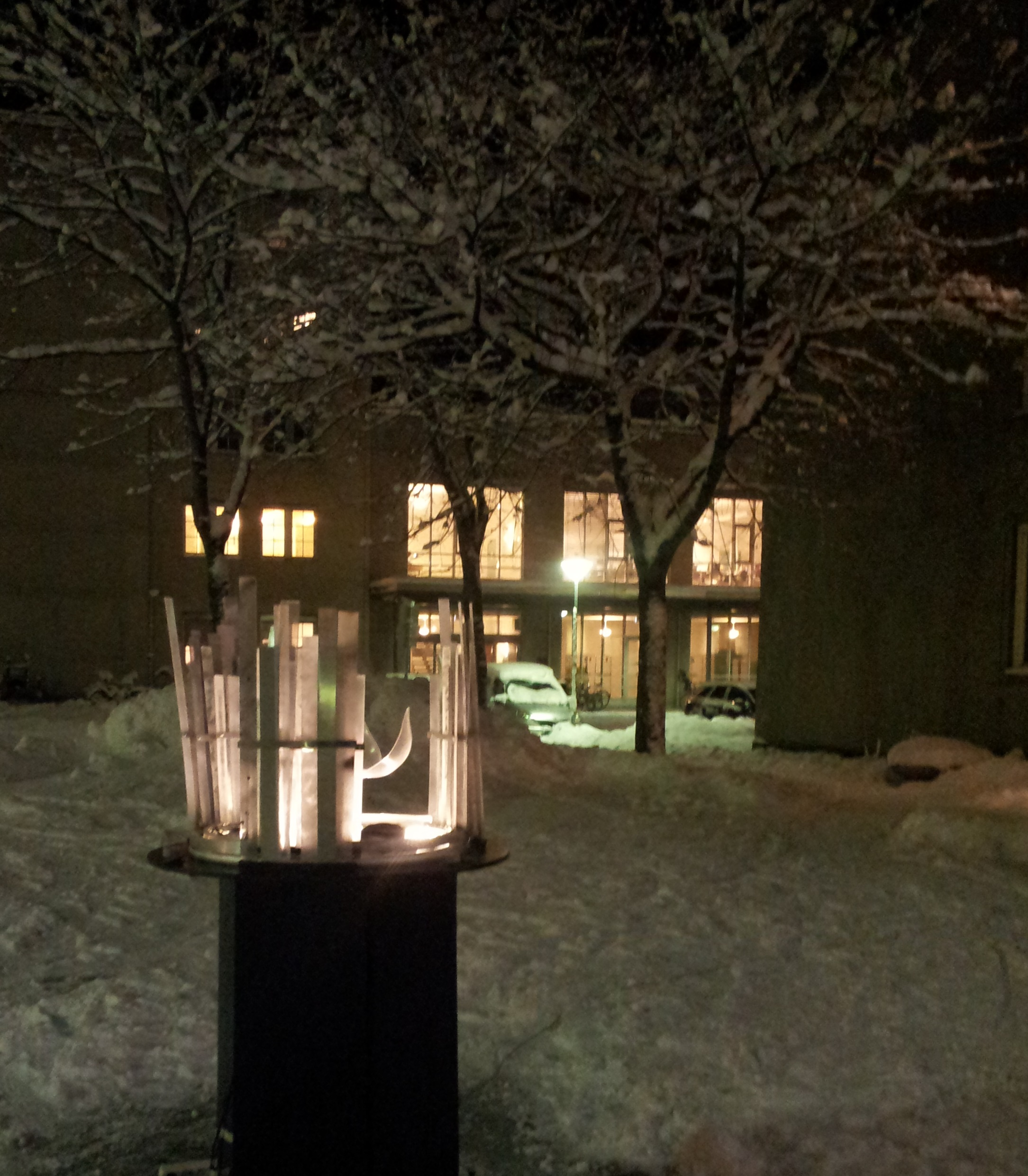 The installation outside in the winter night