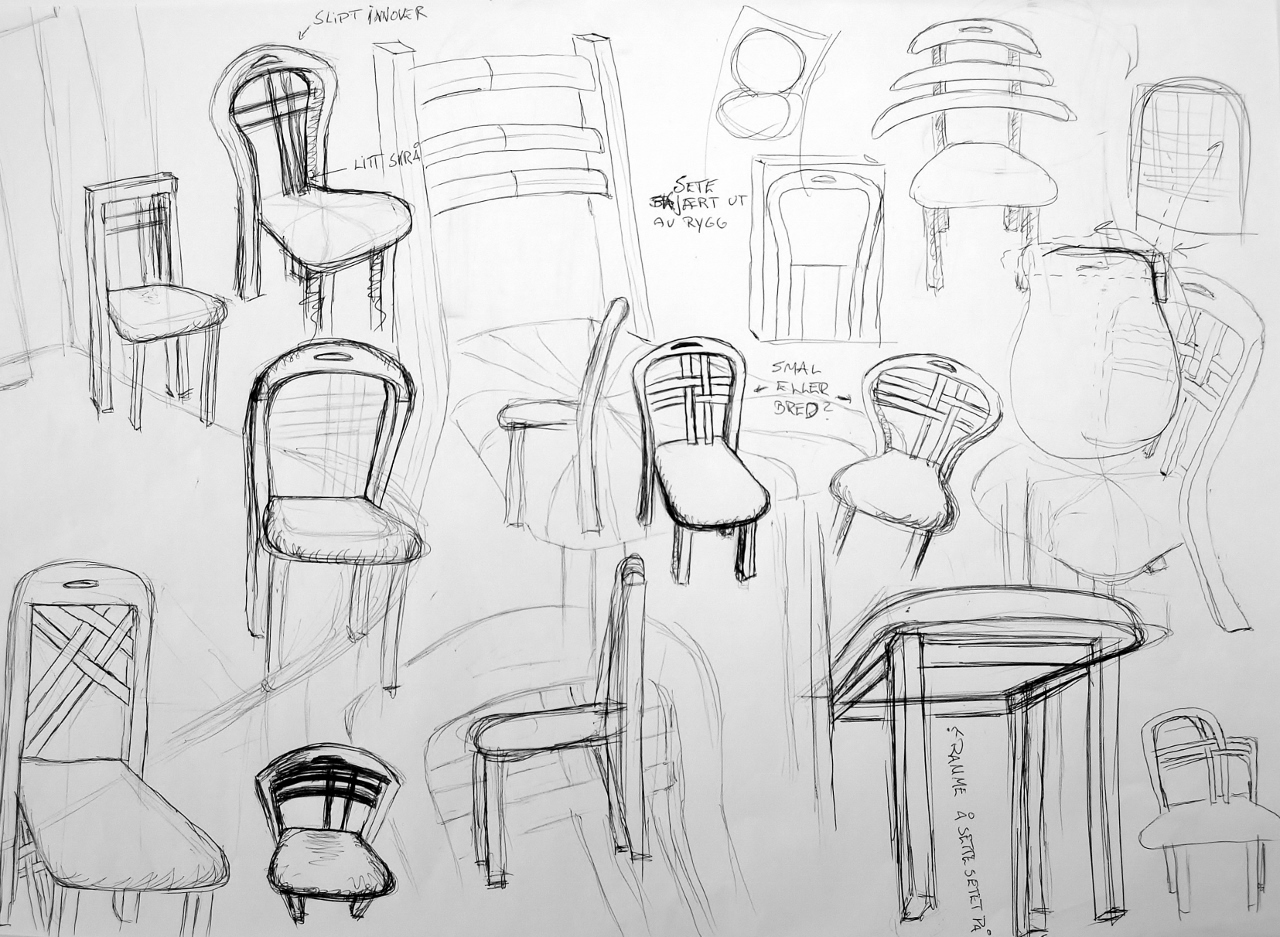 Sketches of ideas for the chairs