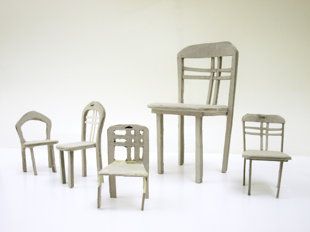 Some minature models of possible chairs